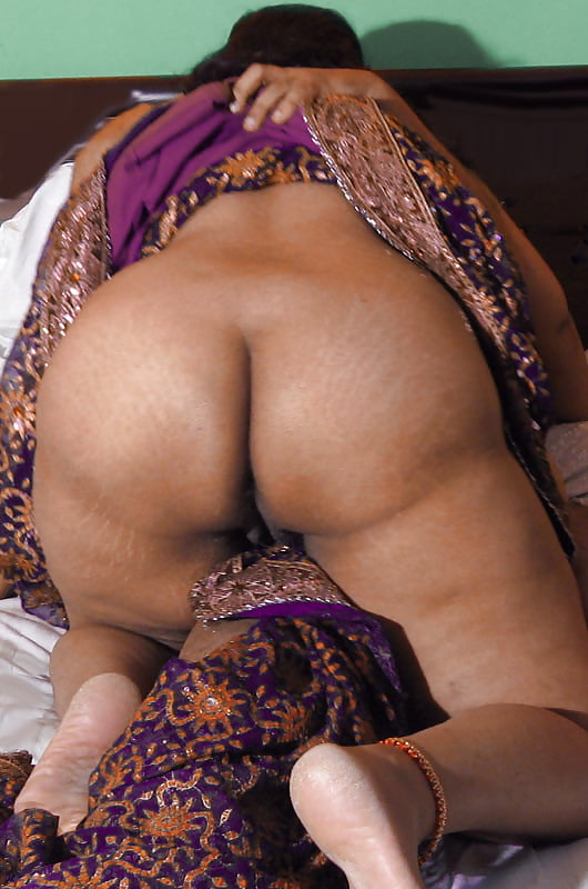 North Indian Aunty In Blouse In Front Of Mirror