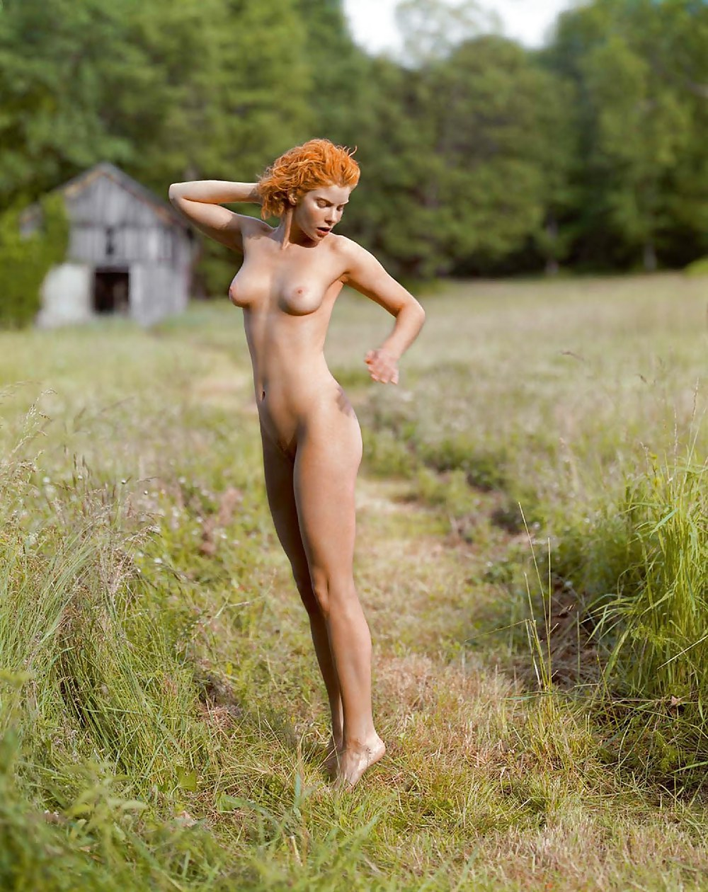 Natural redhead models in flat shoes while going naked out in public