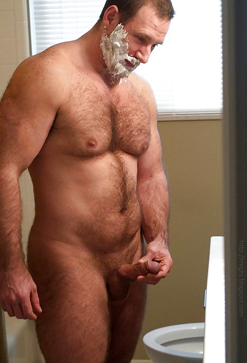 Hairy naked fat dads