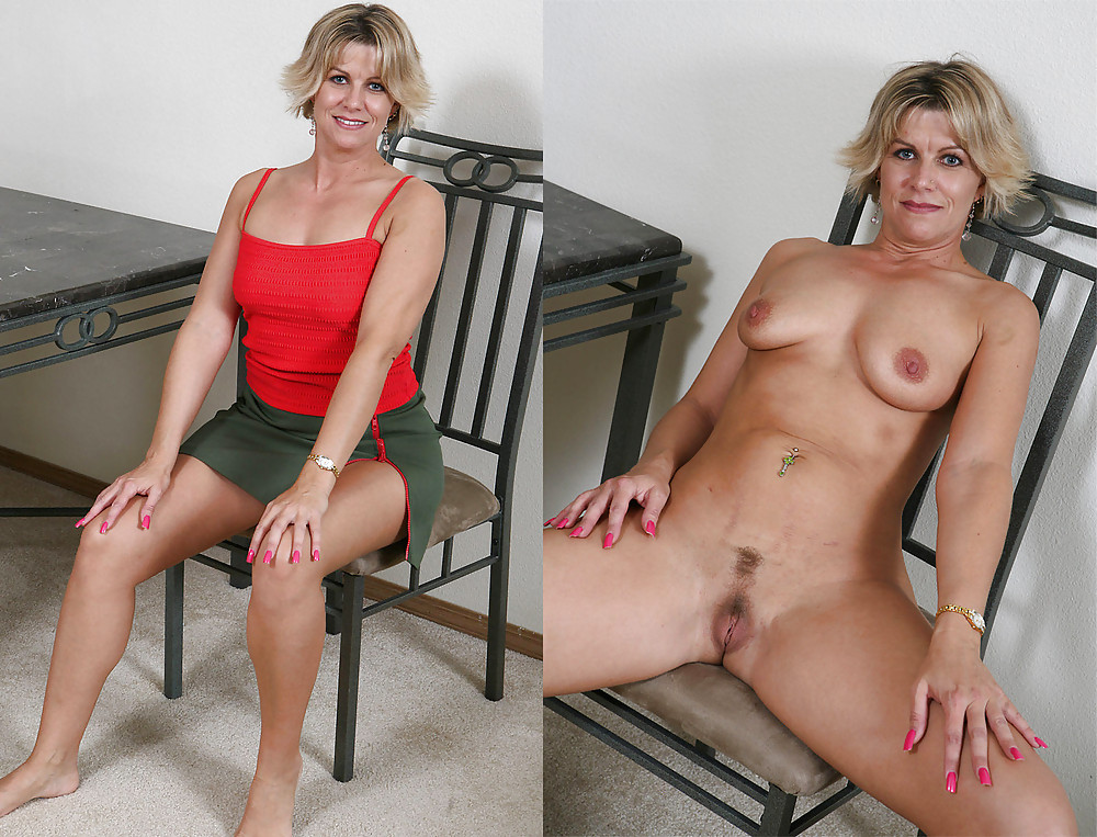 Blonde mature gets rid of sexy pink lingerie and poses nude