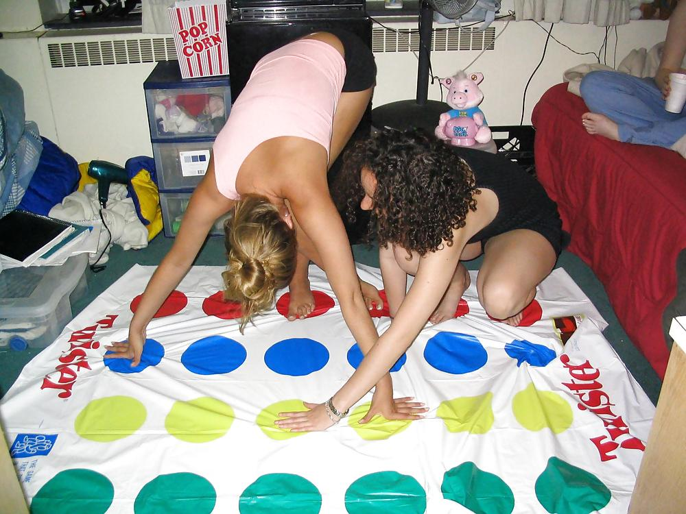 College girls play naked twister