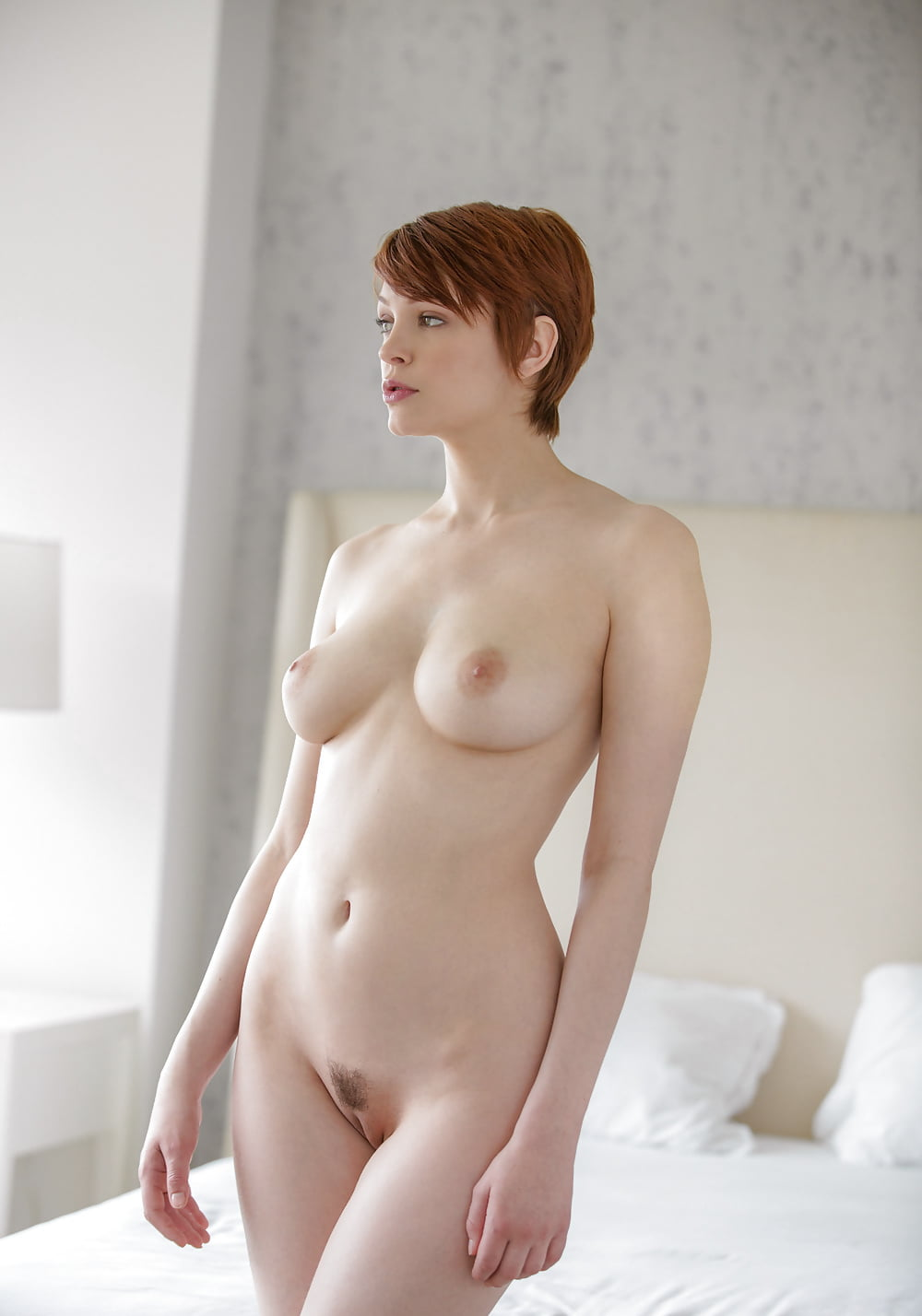 Beautiful naked girl with short hair