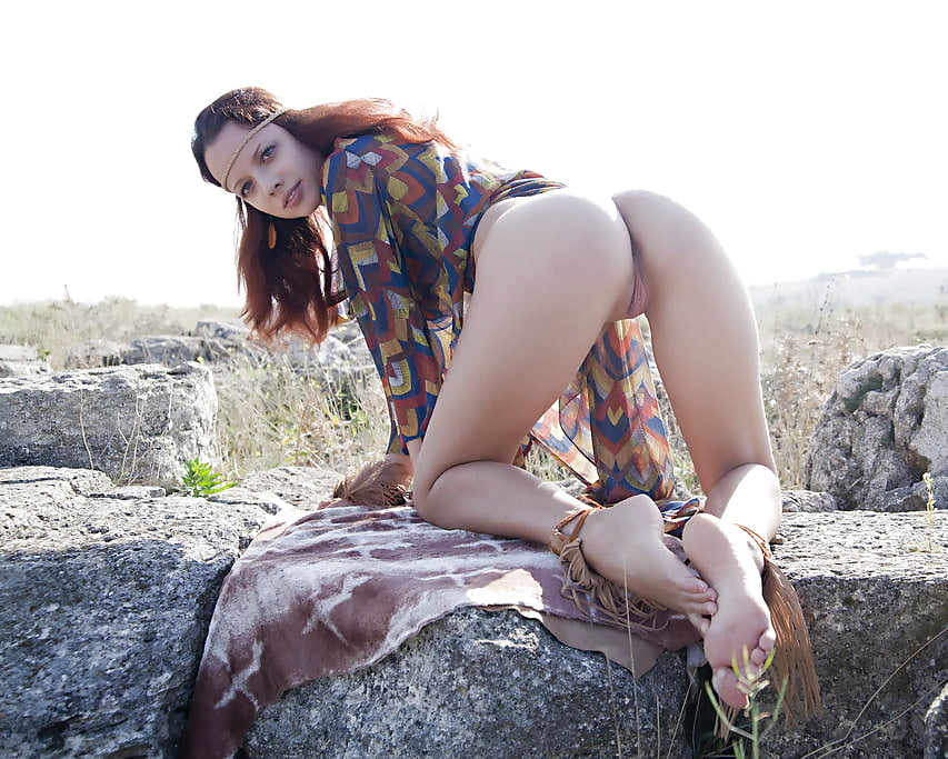 Young hippie girl gets off