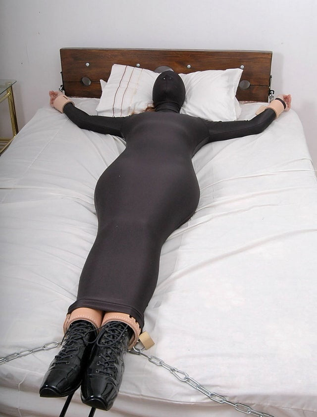 Claire Irons Hogtied In A Tight Dress, High Heels And Stockings