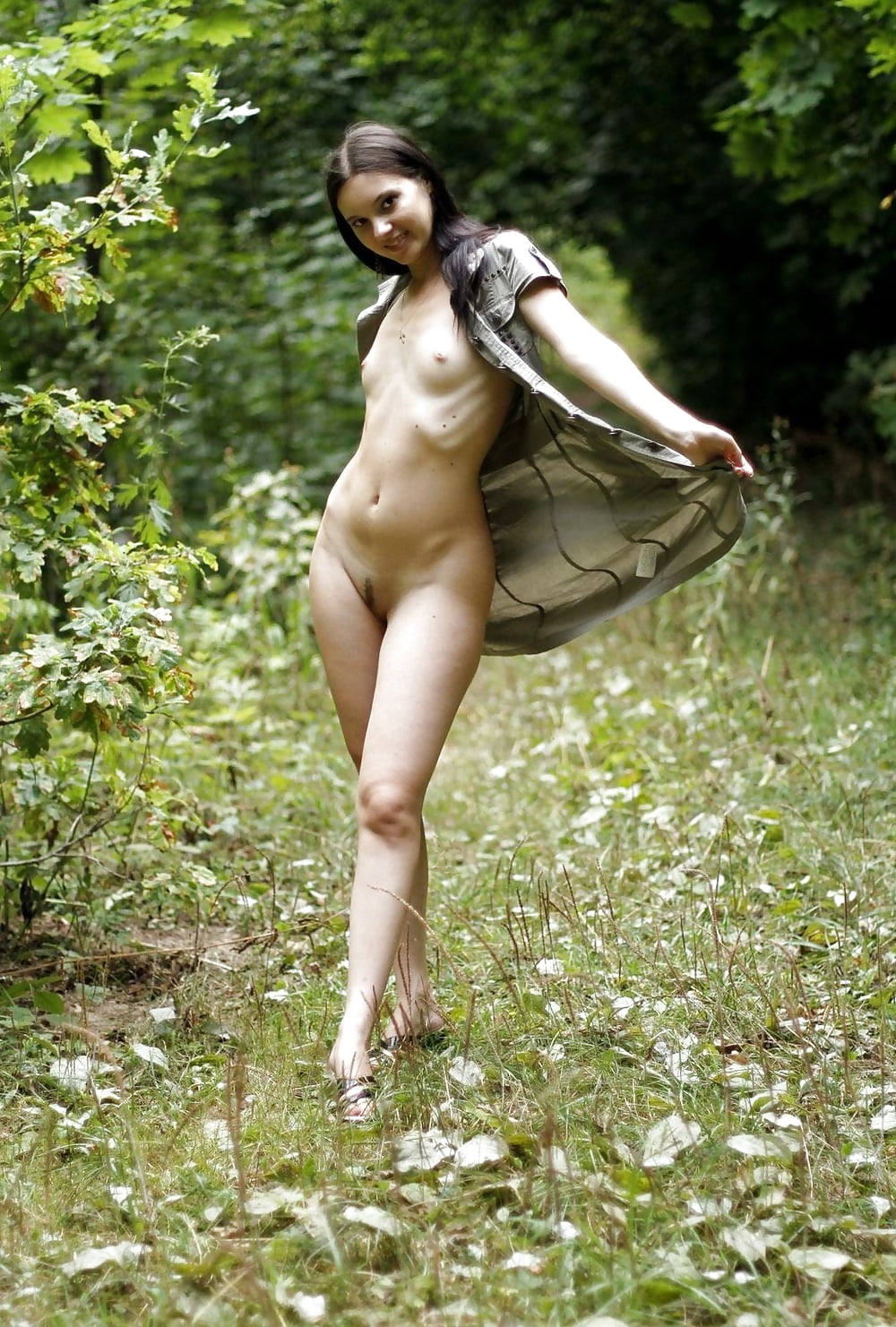 Sexy Outdoors Nude Girl With Handful Breasts