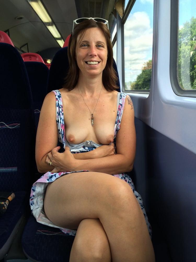 Flashing tits in bus