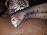 My toes and soles in black tights. Tired feet need worship!