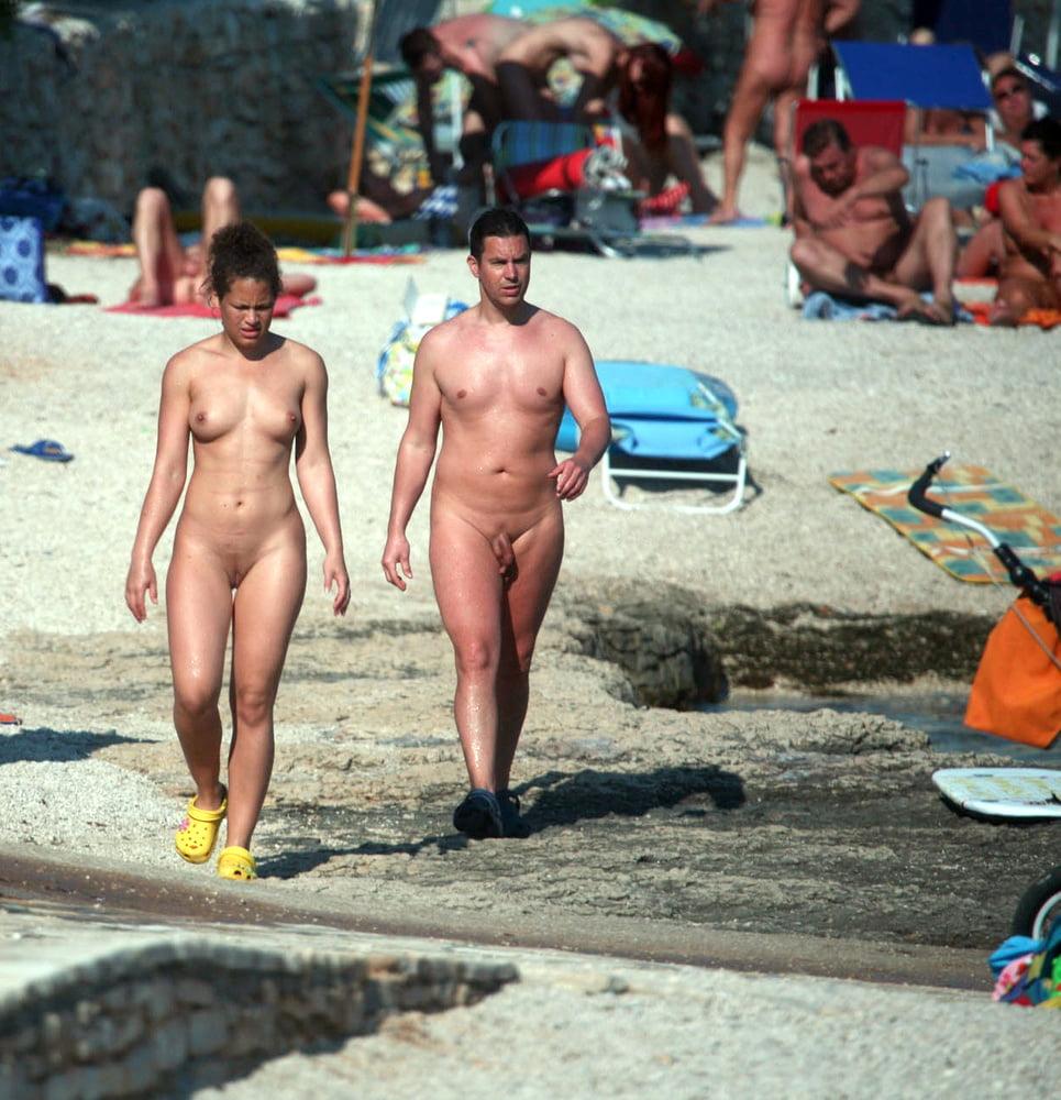Nude Young Beautiful European Girl Going To Swim In The Ocean Stock Image