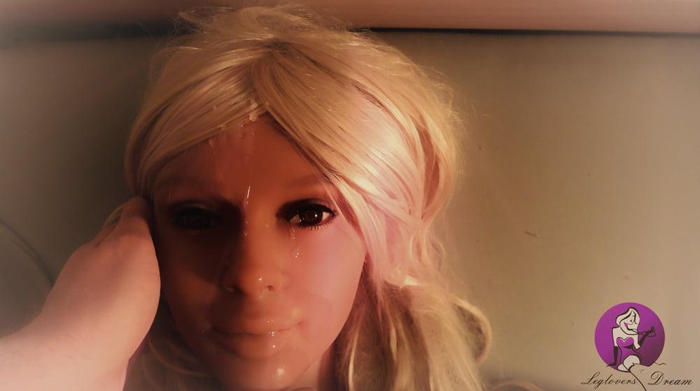 Hot Blonde Real Doll gets fantastic Facial- 10 Pics