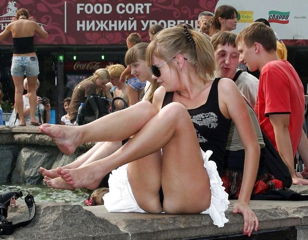 Bare Russian Schoolgirls Swallow Beer Outdoors