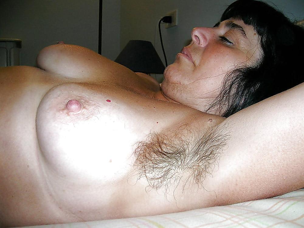 Horny hairy male breast