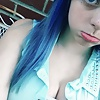Hot girl with blue hair