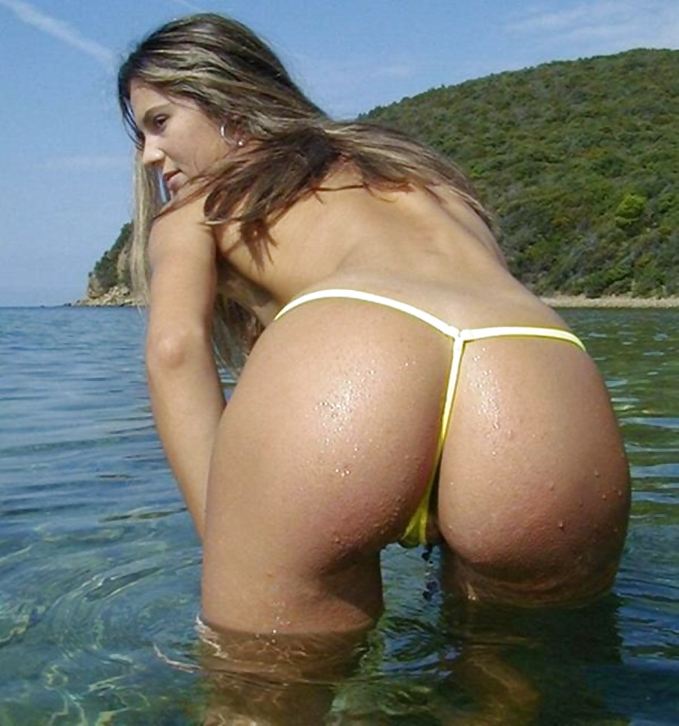 Nude string only exposed crotchless bikini extreme sexy micro g string