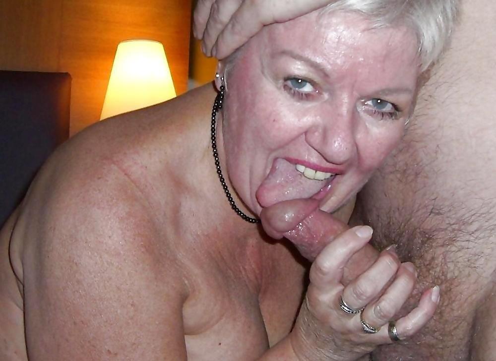 Crazy grandma sucking cock