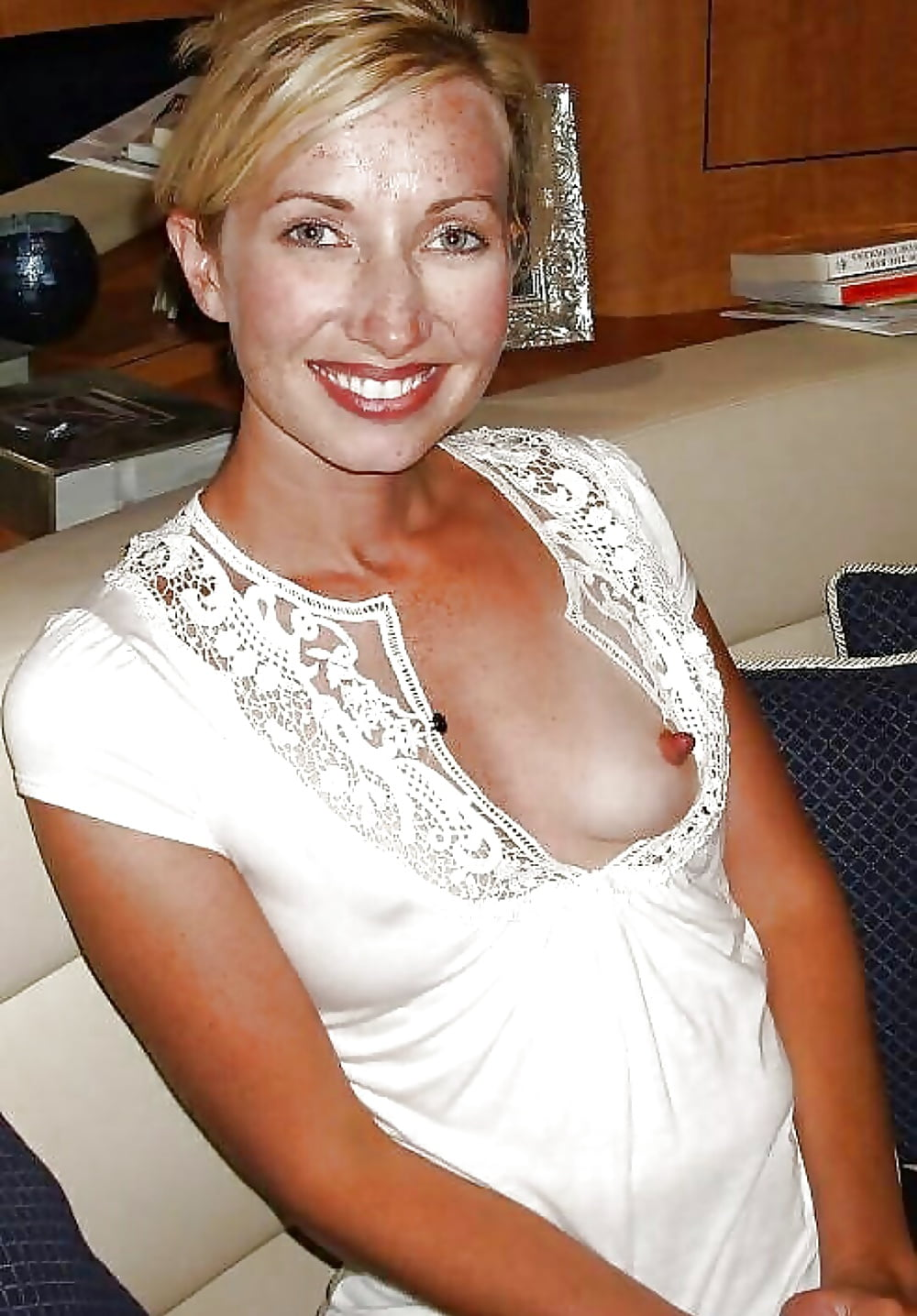 Mature downblouse with nipples