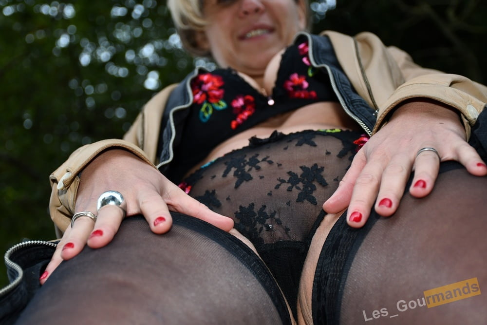 Sexy lingerie and leather jacket outside - 23 Pics