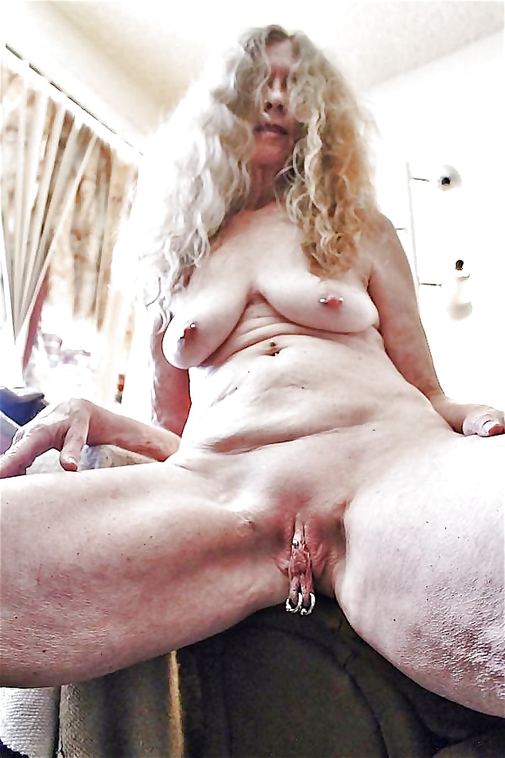 Old lady with soft squeezable tits and swollen clit