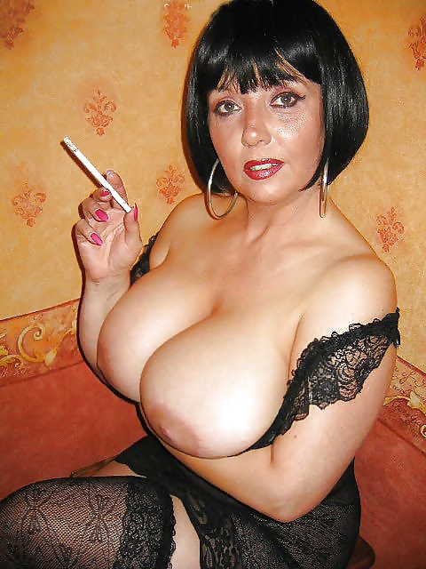 smoking Busty girl